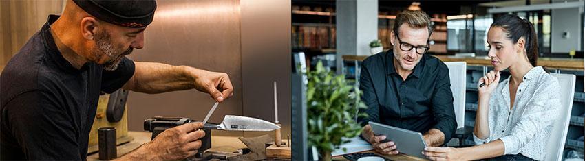 À droite, un vendeur de la marque présentant un produit à une cliente. À gauche, un artisan peaufinant les détails d'un couteau Damas.