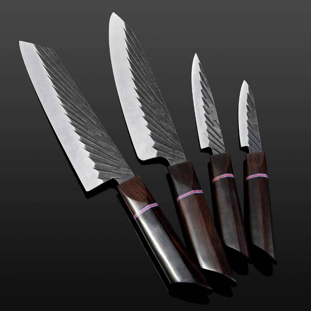 Image d'un très beau set de couteaux japonais fait main