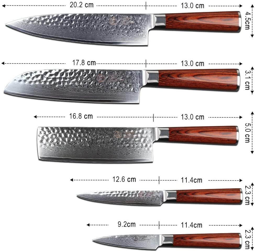 Dimensions des différents couteau composant le set couteau japonais de la marque Yarenh